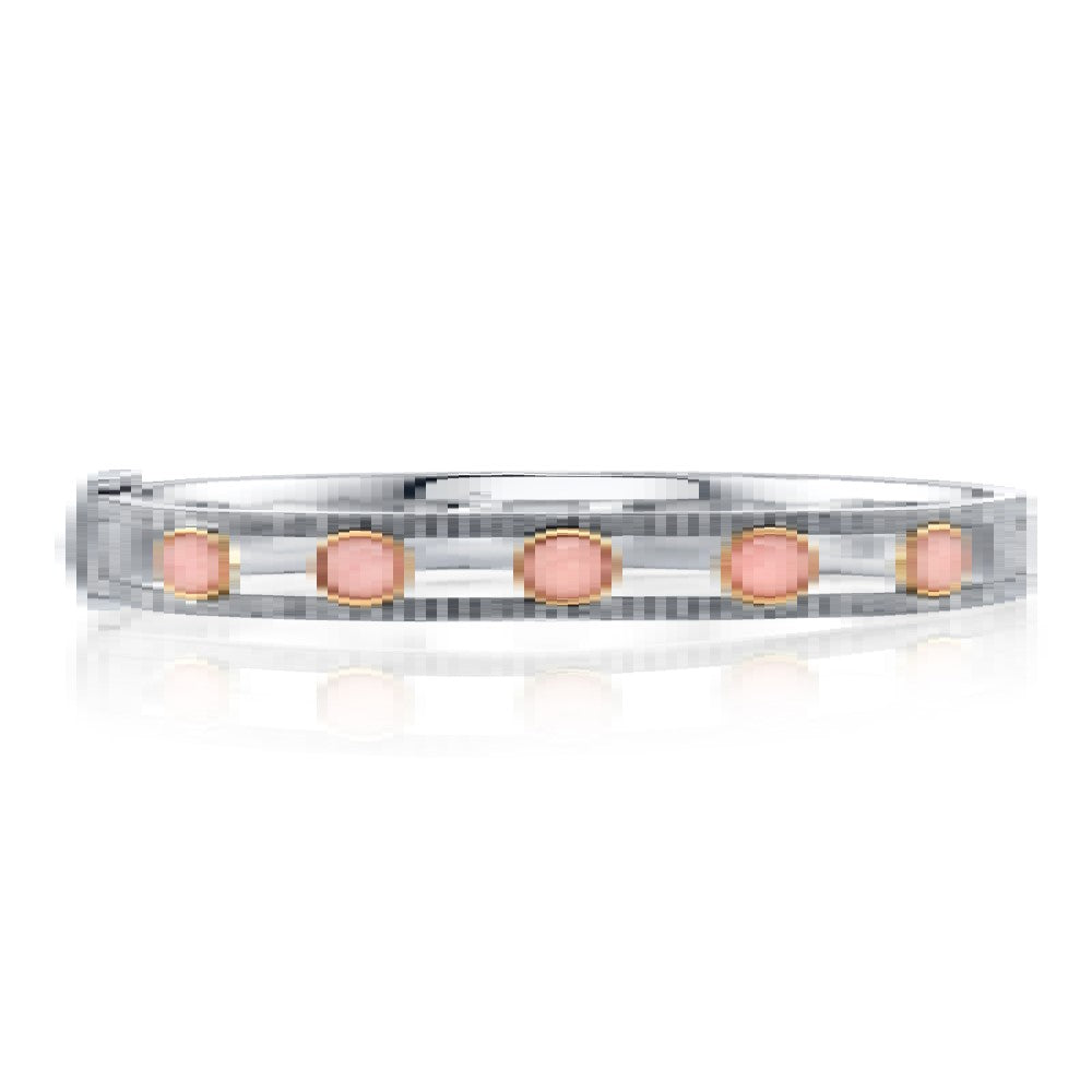 Sterling Silver Pink Agate 5 Station Bangle Bracelet