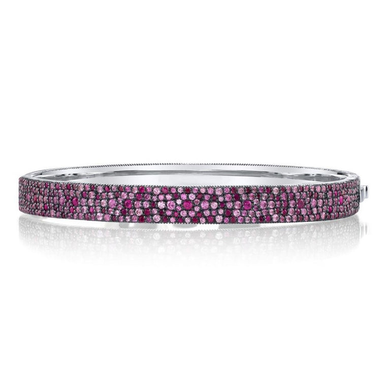 Sterling Silver Pink Sapphire Bangle Bracelet (3.40ct)