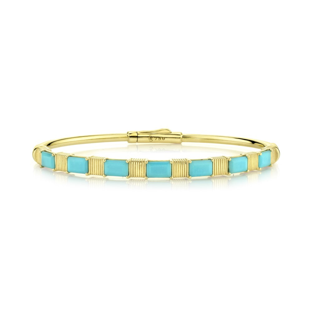 18k Yellow Gold With Turquoise Bangle Bracelet (2.90ct)