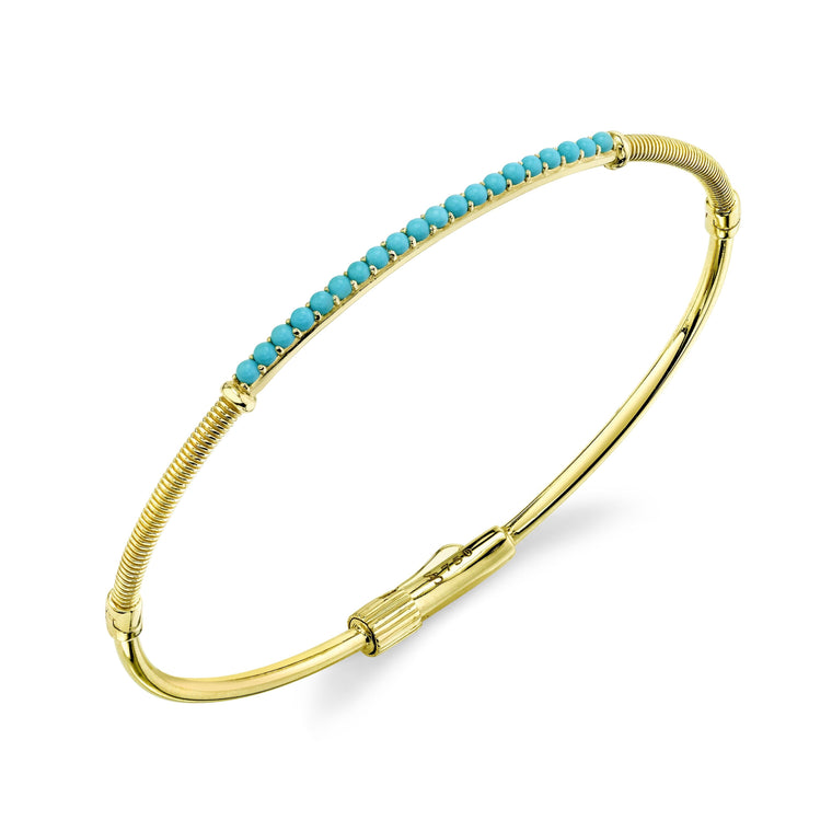 18k Yellow Gold Turquoise Bangle Bracelet