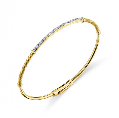 18k Yellow Gold Diamond & Strie Bangle Bracelet (.38ct)