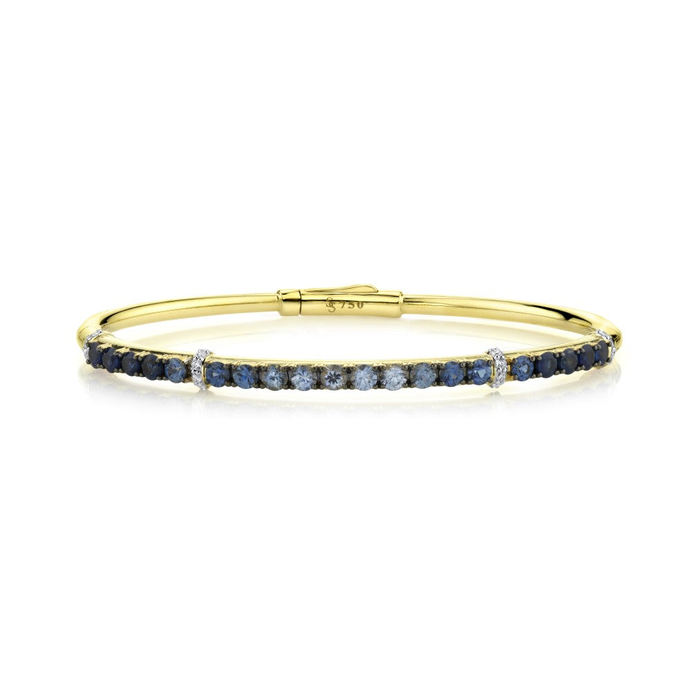 18k Yellow Gold Sapphire (2.29ct) & Diamond (.16ct) Bangle Bracelet
