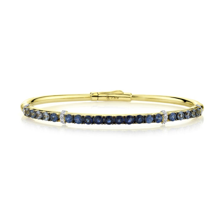 18k Yellow Gold Sapphire (2.58ct) & Diamond (.16ct) Bangle Bracelet