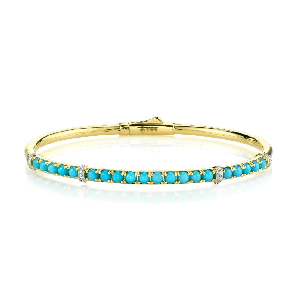 18k Yellow Gold Turquoise (2.23ct) & Diamond (.16ct) Bangle Bracelet