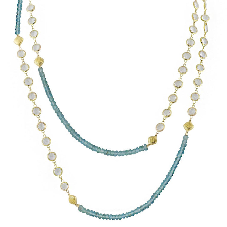 18k Yellow Gold White Topaz & Apatite Beaded Necklace