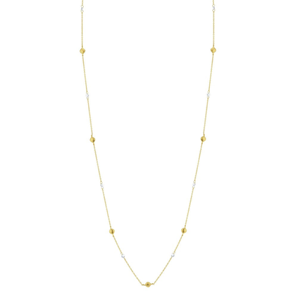 18k Yellow Gold 34' Rose Cut Diamond & Strie Necklace (.57ct)