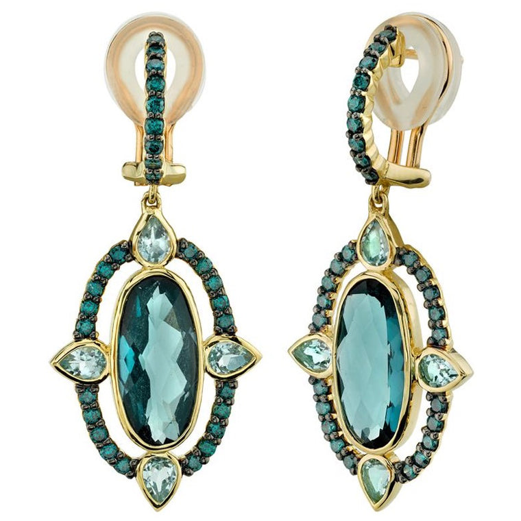 18k Yellow Gold London Blue Topaz (8.00ct) With Sky Blue Topaz (1.50ct) & Blue Diamond (.90ct) Drop Earrings