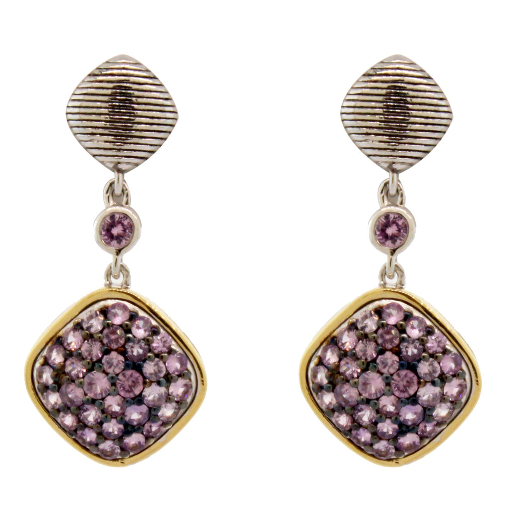 Sterling Silver & 18k Yellow Gold Purple Sapphire Cushion Earrings (.95ct)