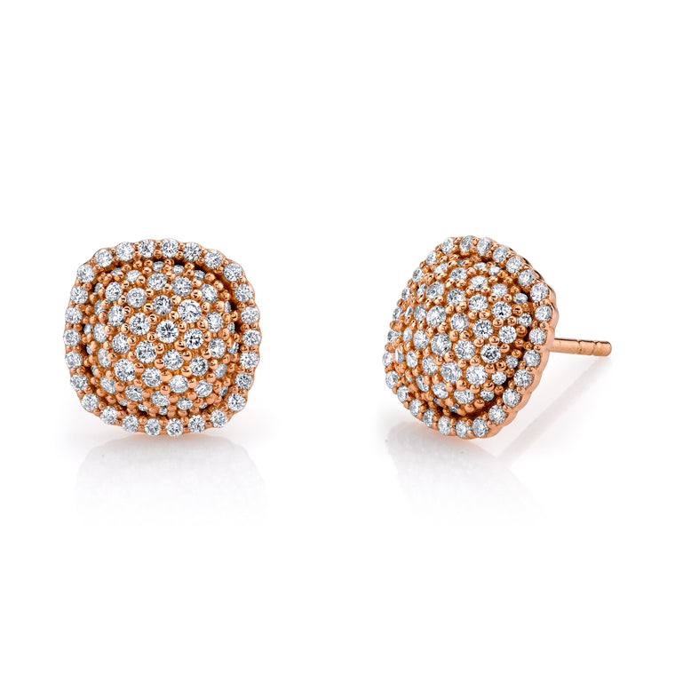 18k Rose Gold Pave Diamond Stud Earrings (.81ct)
