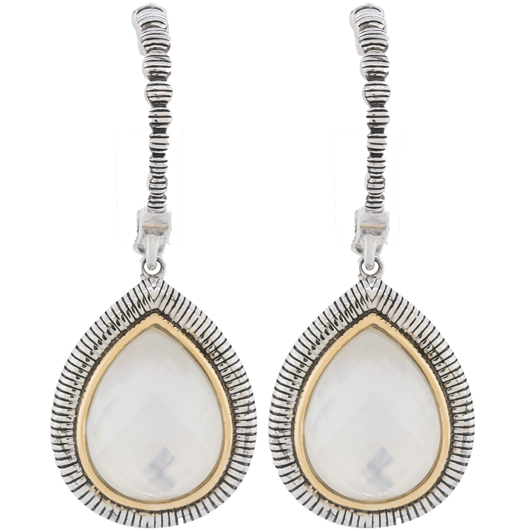 Sterling Silver Pear Shape Mother of Pearl With Yellow Gold Halo Drop Earring (3.19ct)
