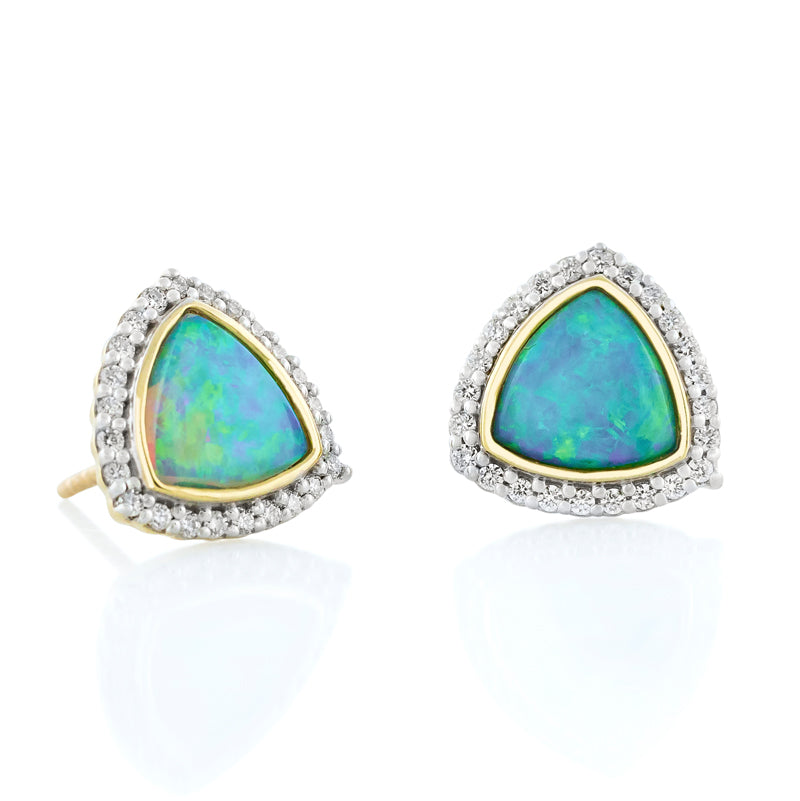 18k Yellow Gold Trillion Opal & Diamond Halo Stud Earrings