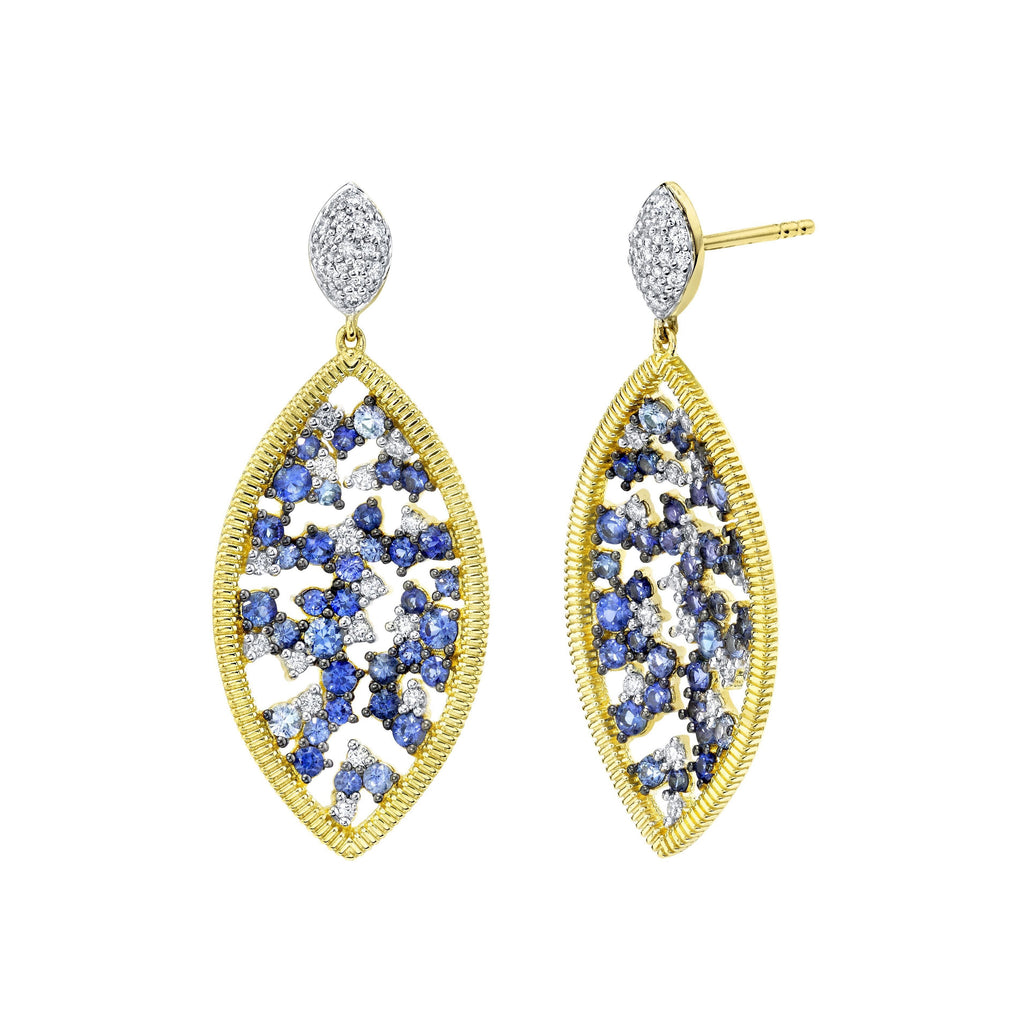 18k Yellow Gold Sapphire (2.25ct) & Diamond (.52ct) Drop Earrings