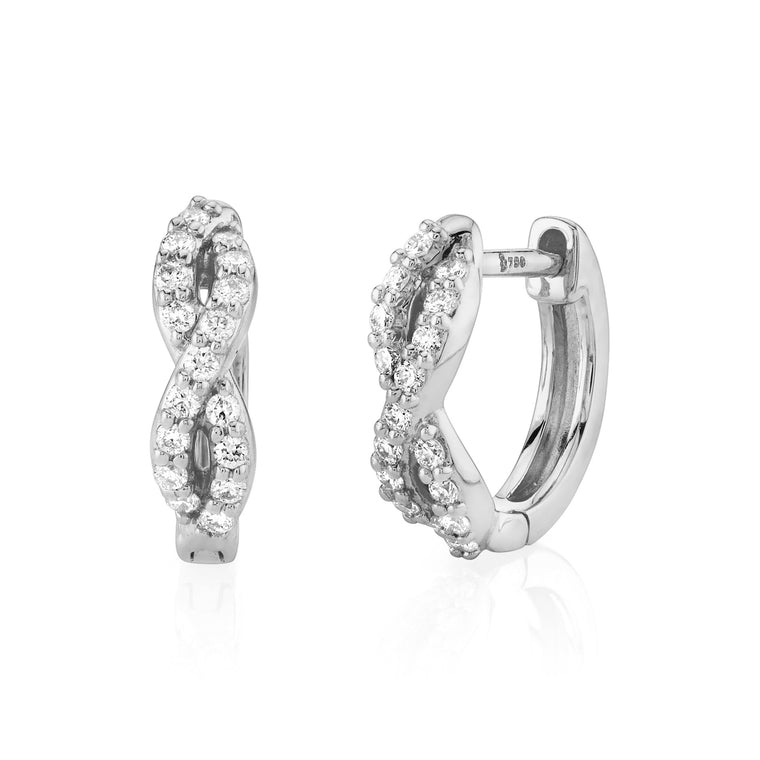 18k White Gold Small Diamond (.17ct) Braided Huggie Earrings (.17ct)