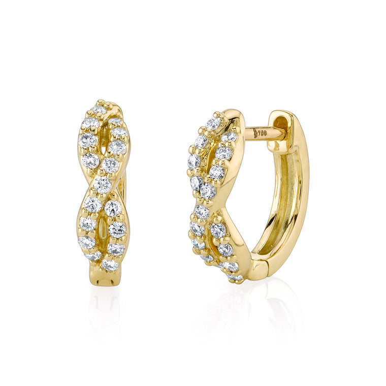 18k Yellow Gold Diamond Twist Huggie Earrings (.17ct)
