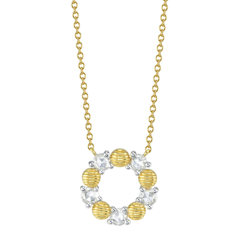 18k Yellow Gold Diamond Rose Cut & Strie Circle Pendant Necklace (.30ct)