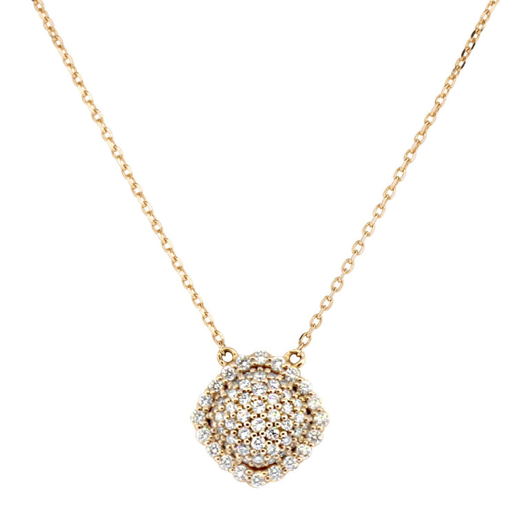18k Rose Gold White Topaz (2.10ct) With Diamond (.21ct) Halo Pendant Necklace