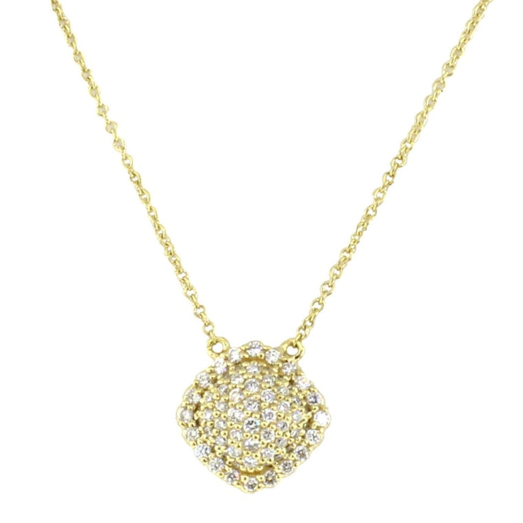 18k Yellow Gold Diamond Pave Cushion Pendant Necklace (.47ct)