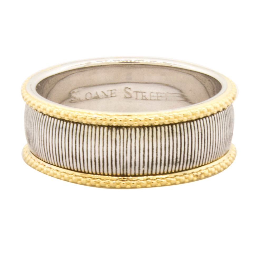 Sterling Silver & 18k Yellow Gold Strie Ring