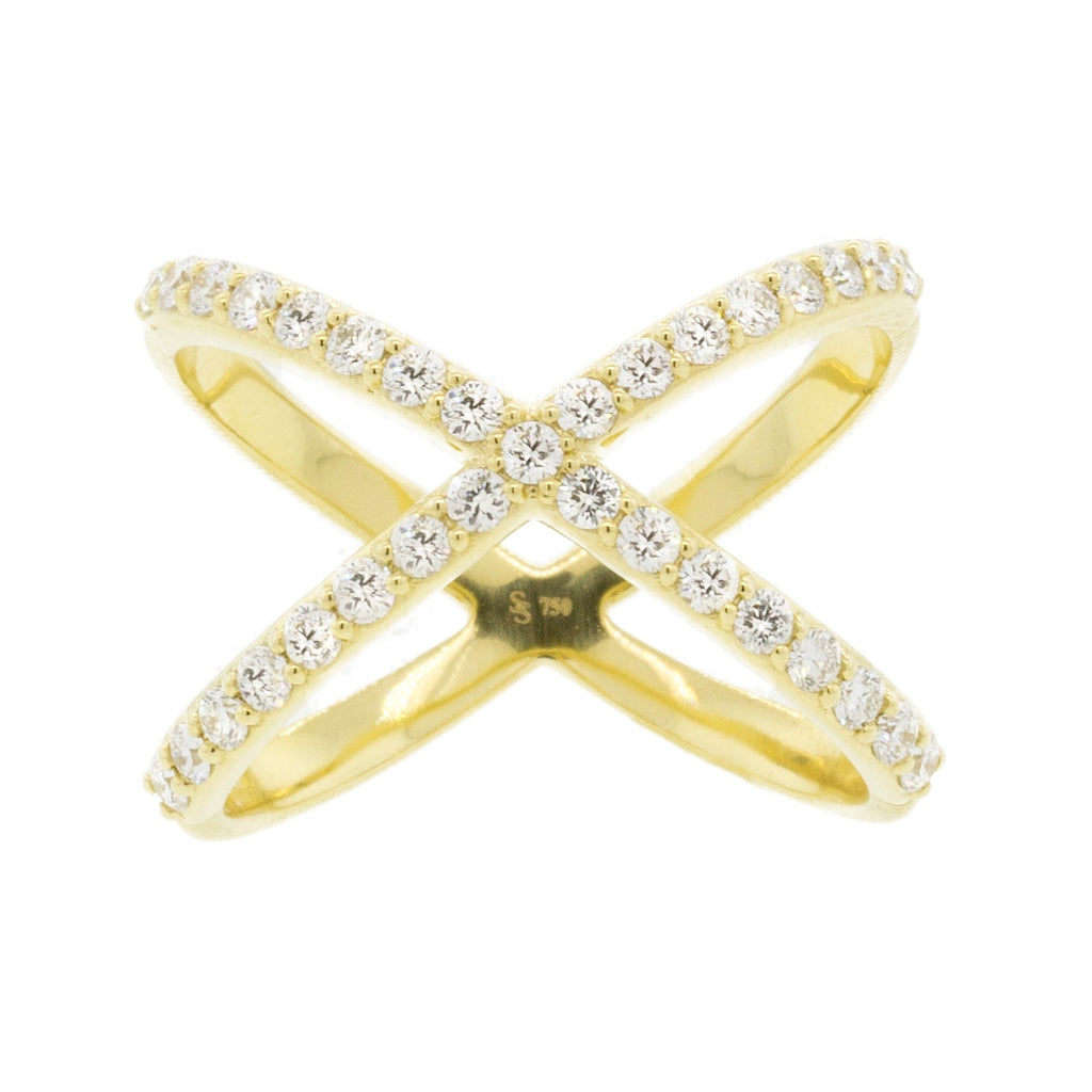 18k Yellow Gold Diamond Criss Cross Ring (.68ct)