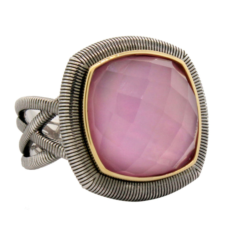 Sterling Silver Lavender Cabochn With Gold & Strie Halo Ring (12.10ct)