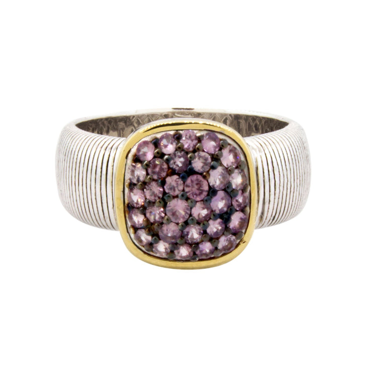 Sterling Silver Pave Purple Sapphire With Gold Halo Ring