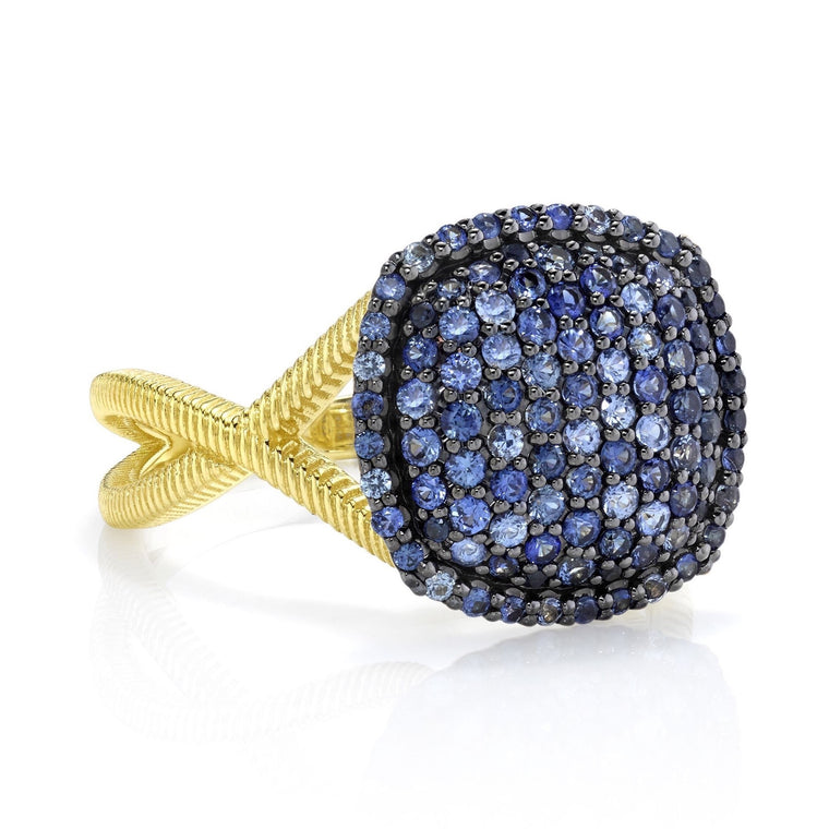 18k Yellow Gold Pave Sapphire & Strie Ring (.94ct)