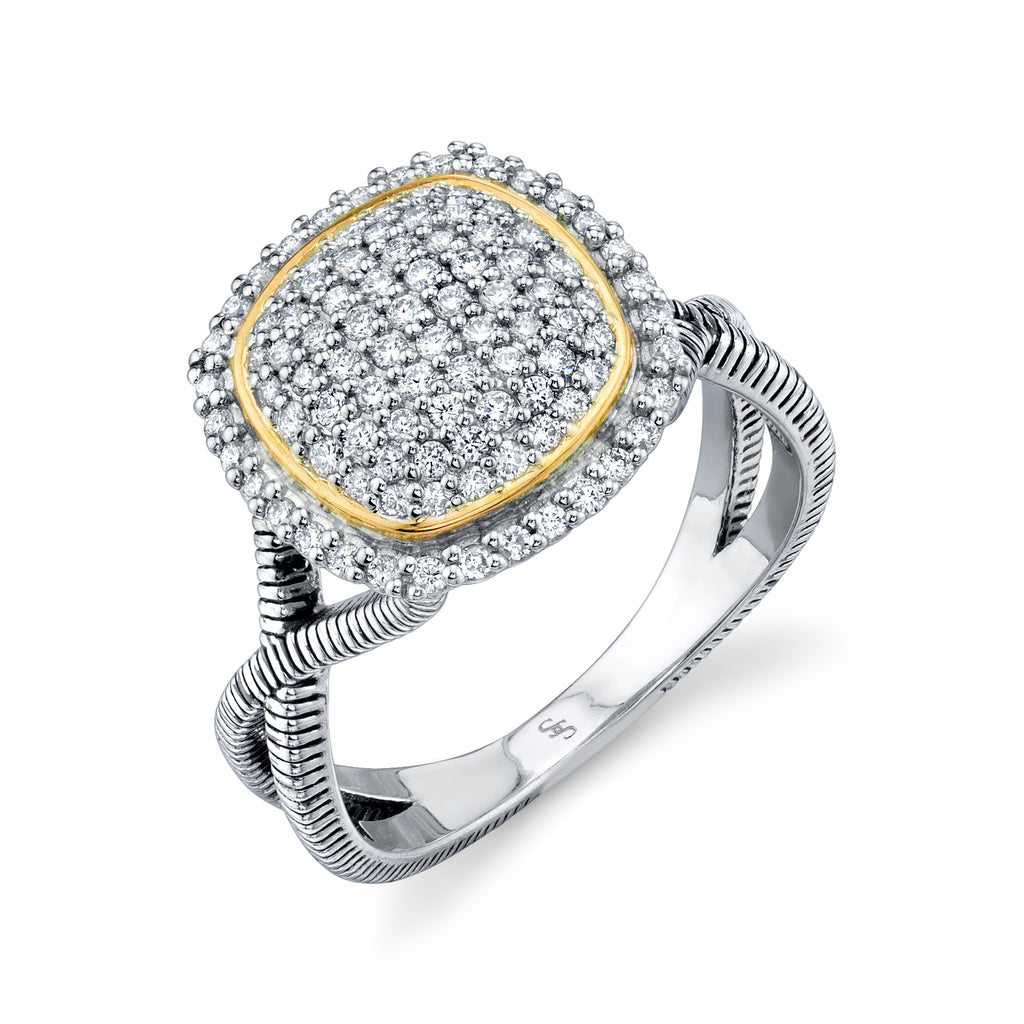 Sterling Silver & 18k Yellow Gold Pave Diamond Cushion Ring (.55ct)