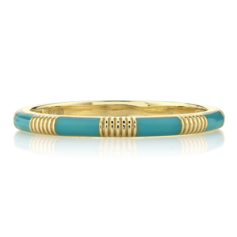 18k Yellow Gold Turquoise & Strie Stackable Ring
