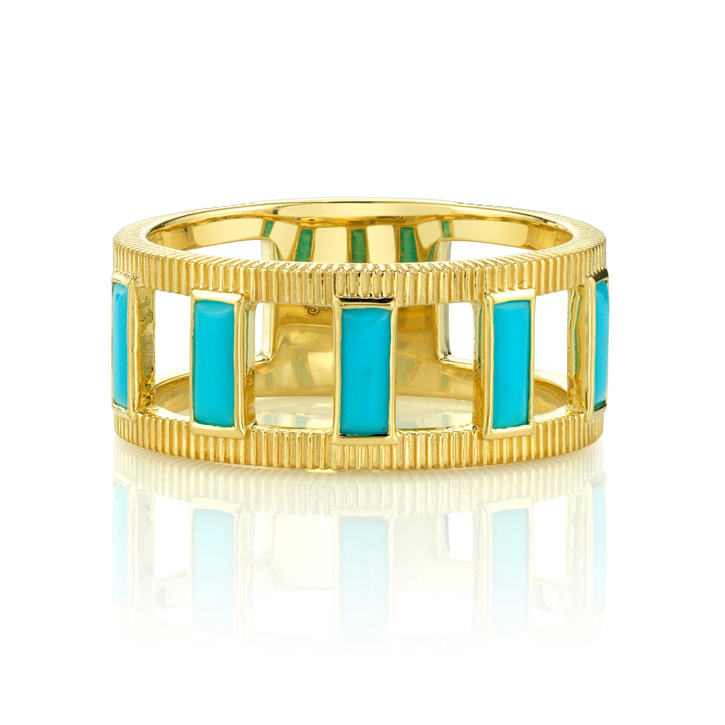 18k Yellow Gold Turquoise & Strie Ring (.51ct)