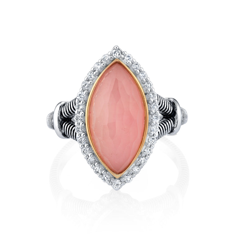 Sterling Silver Pink Marquise Opal With Diamond Halo Ring