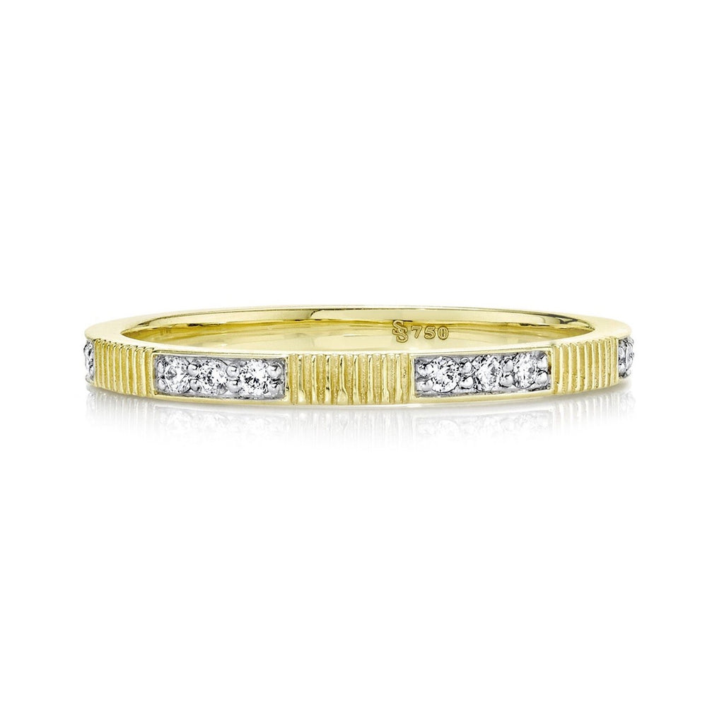 18k Yellow Gold Diamond & Strie Stackable Ring (.15ct)