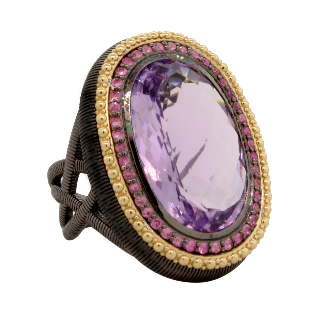 Sterling Silver Oval Lavender Amethyst With Purple Sapphire Halo Ring (15.21ct)