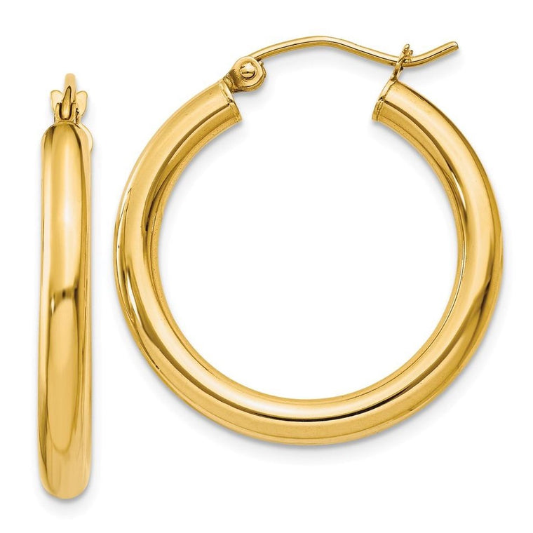 14k Yellow Gold 4mm Thick Polished Tube Hoop Earrings