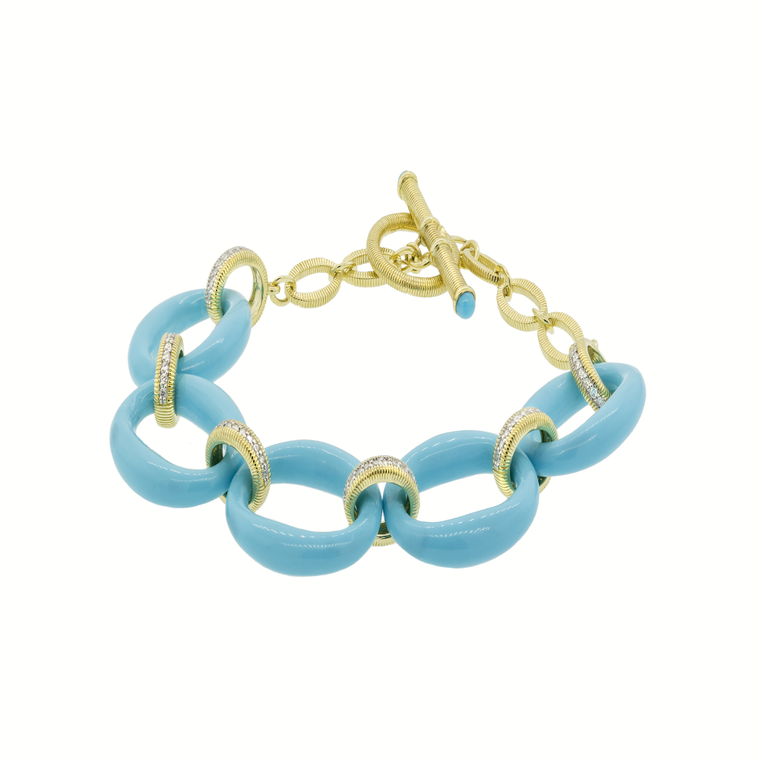 18k Yellow Gold Diamond & Turquoise Oval Bracelet (.33ct)