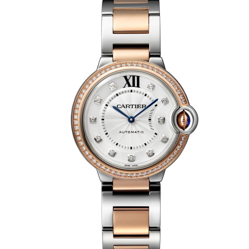 18k Rose Gold & Stainless Steel 36mm Automatic Ballon Bleu With Diamond Dial & Diamond Bezel Watch