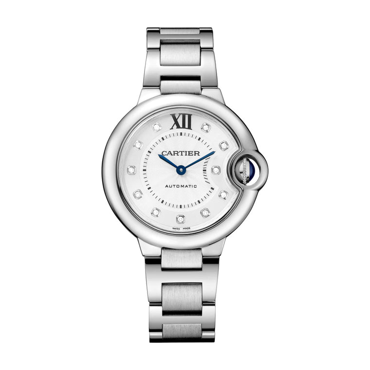 Stainless Steel 33mm Auto Diamond Dial Ballon Bleu