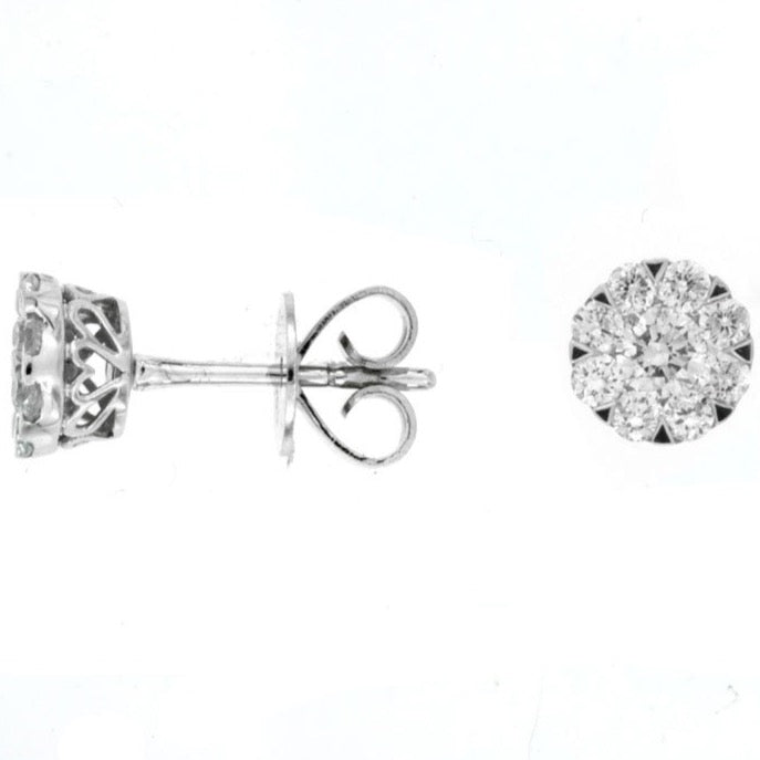 14k White Gold Diamond Cluster Stud Earrings (.58ct)