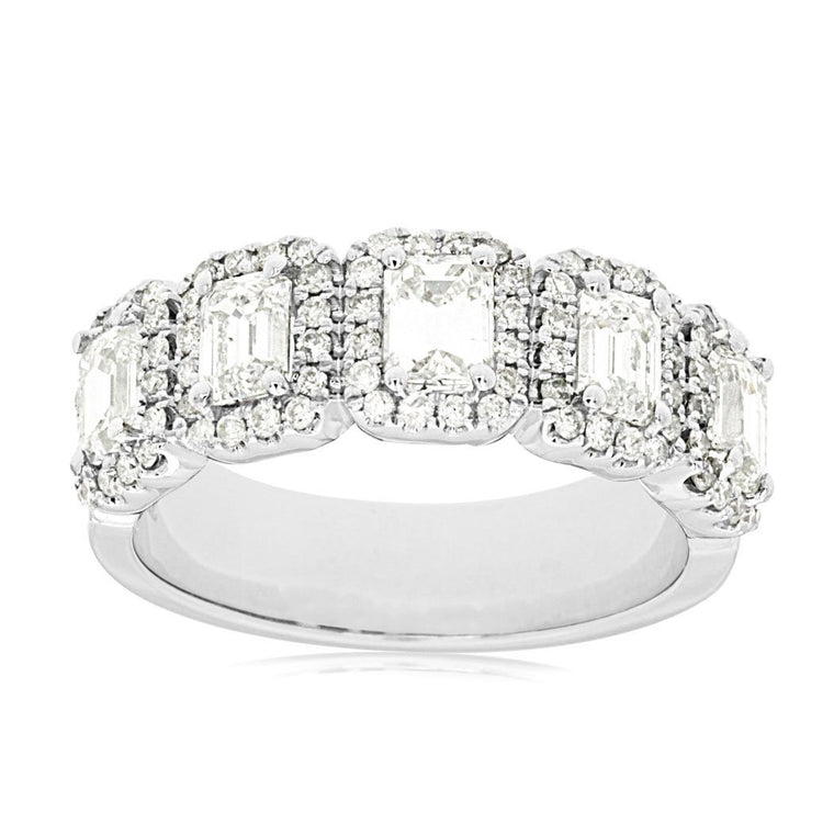 14k White Gold Emerald Cut Diamond 5 stone Ring With Diamond Halo (1.95ct)