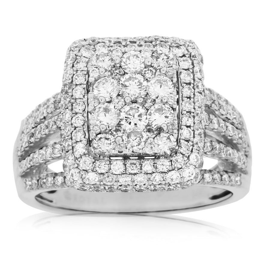 14k White Gold Diamond Cluster Ring With Diamond Halo & Diamond Shank (1.85ct)