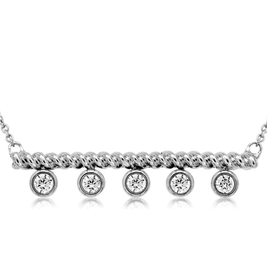 14k White Gold Diamond 5 Drop Bar Necklace (.25ct)