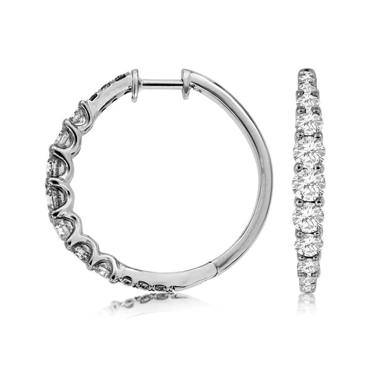 14k White Gold Graduated Diamond Hoop Earrings (1.50ct)