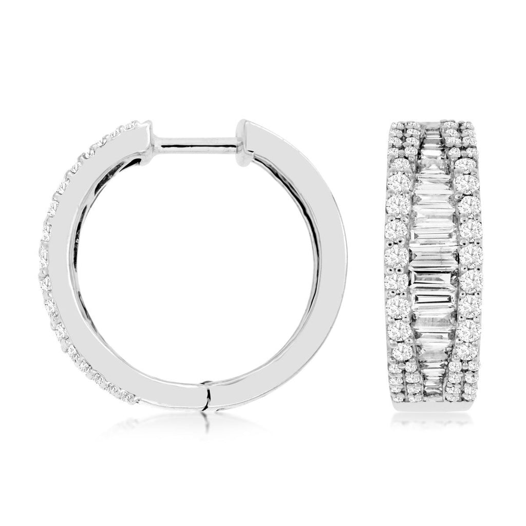 14k White Gold Baguette & Round Diamond Hoop Earrings( 1.28ct)
