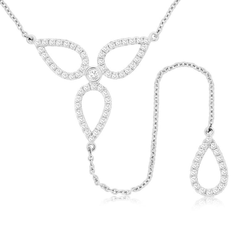 14k White Gold Diamond Drop Lariat Necklace (.55ct)