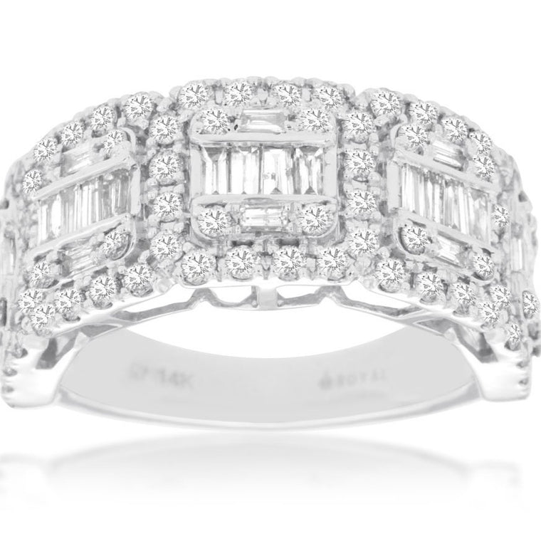 14k White Gold Round Diamond & Baguette Diamond Ring (1.62ct)