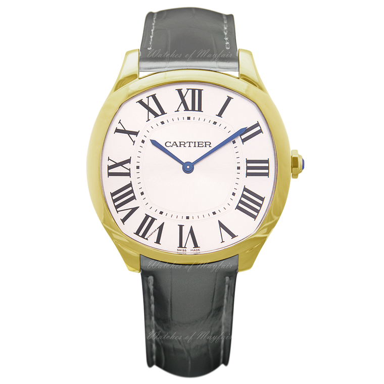 18k Yellow Gold Extra Flat Driver de Cartier Gray Alligator Strap