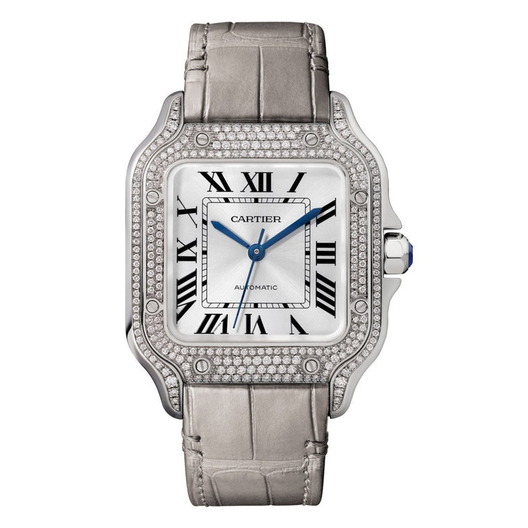 18k White Gold Medium Santos Diamond Pave Case & Diamond Bezel With Interchangeable Strap