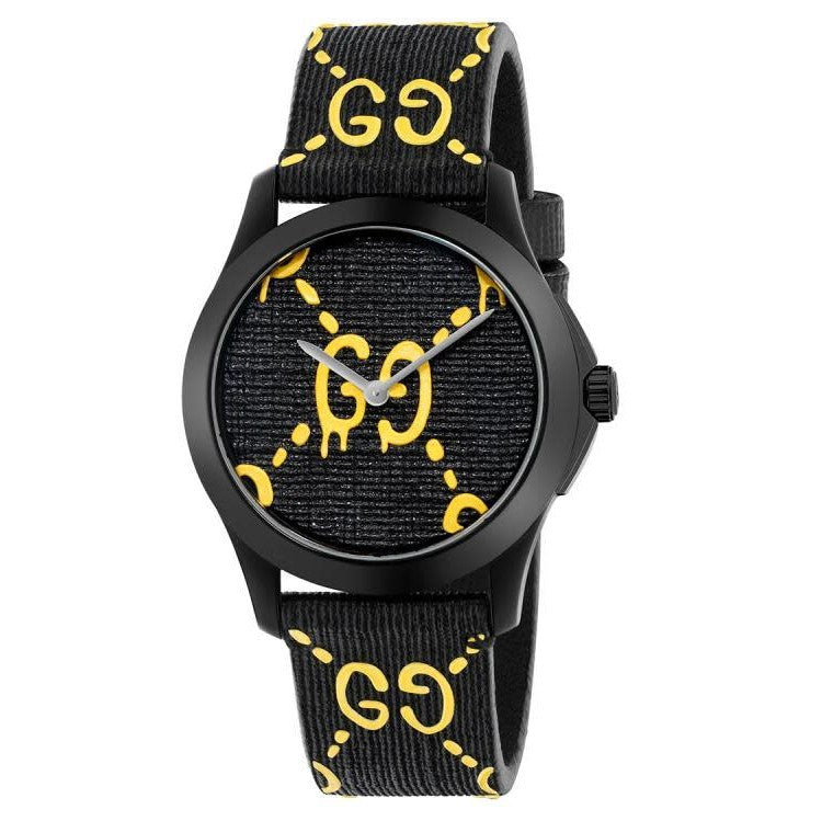 Timeless Medium Black & Yellow GG Logo Watch