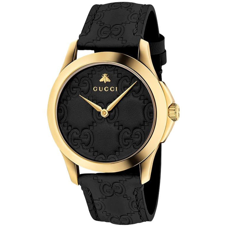 G-Timeless Black Signature Leather Strap Watch