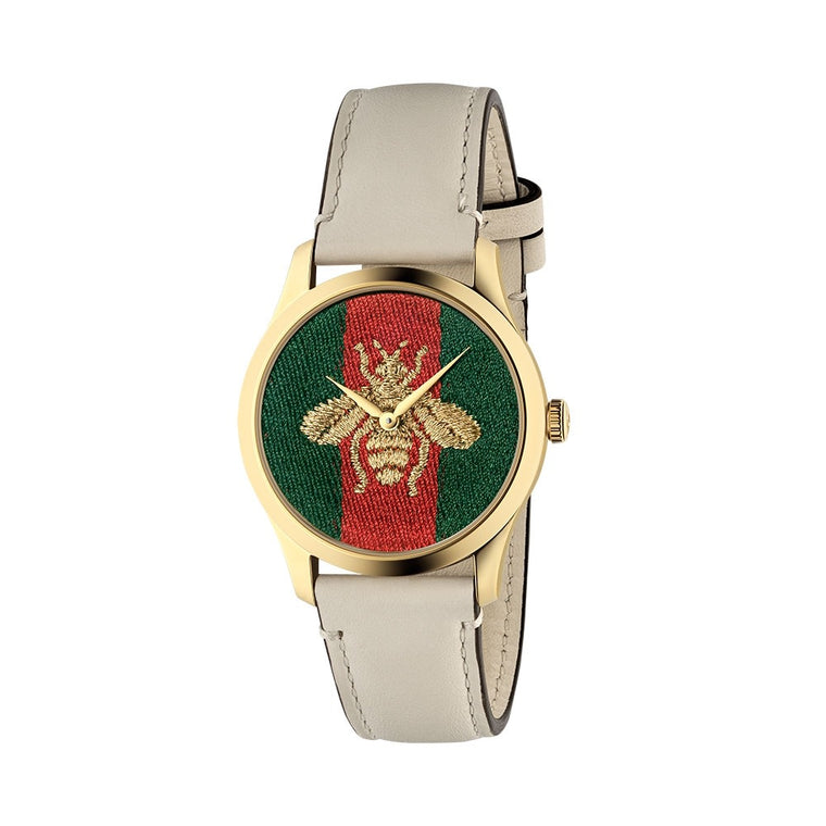 G Timeless Green & Red Bee Watch With Ivory Strap