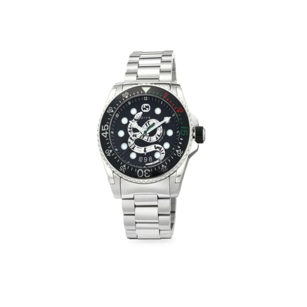Dive 45mm Black Snake Dial With Black Bezel On Stainless Steel Bracelet